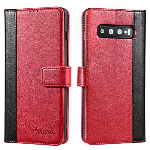 Coque Samsung Galaxy S10 Plus, Housse étuis en Cuir Flip Phone Cover Véritable pour Samsung Galaxy S10 Plus - Vin Rouge (S10P-JG-WR)