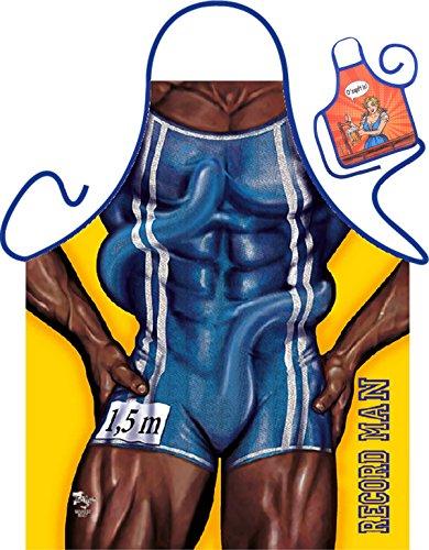 Bodybuilder Motiv Kochschürze sexy Männerkörper Schürze : Record Man -- Themenschürze mit Minischürze für Flaschen