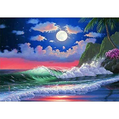 DIY 5D diamante pintura puesta de sol playa paisaje marino punto de cruz mosaico círculo completo diamante pintor decoración del hogar regalo A17 50x70cm