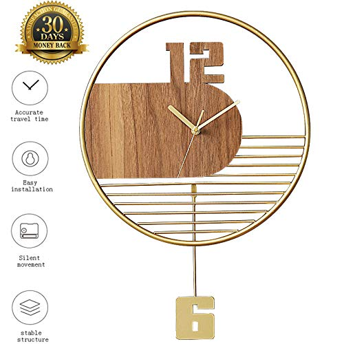 XLBAXLJ Wooden Wrought Iron Wall Clock, Hollowed Out Stylish Light Art Quiet Living Room Children's Bedroom Study Office Decoration The Best Gift