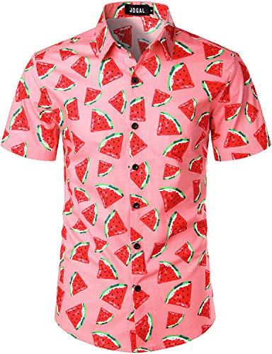 JOGAL Men's Cotton Button Down Short Sleeve Hawaiian Shirt Pink Red Medium