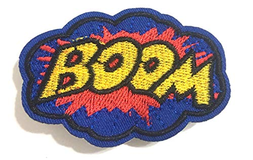 Pow Boom Bang Zap Cool Iron on Clothing Patches for Jeans Hats Jackets Backpacks patchs Accessory for Men Women Unisex Fashion Design Style Sewing Iron on Accessories DIY Easy to use (Boom 1)