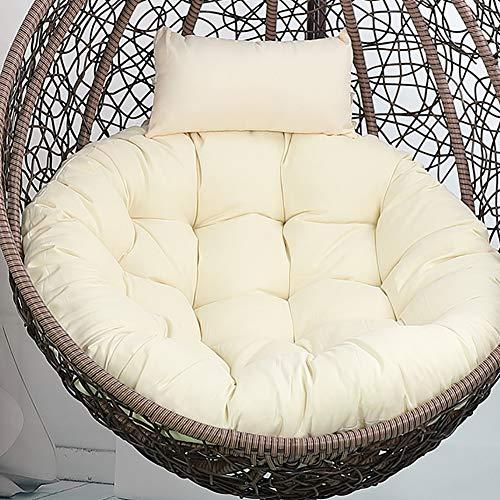 Lefuyan Rund vagga korgkudde, fågelbo sling stol kudde rottingstol enkel gungstol ryggkudde – ris vit diameter: 105 cm