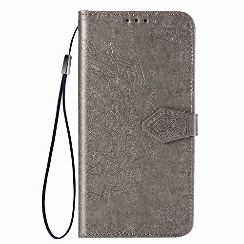 UILY Funda Compatible para Xiaomi Redmi Note 10, Moda Carcasa Billetera Cuero PU Ultrafina, Cáscara con Impreso Patrón Mandala Anti-Caída Soporte. Gris