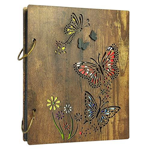 Amazon Brand - Umi Álbum de Fotos con Tapa de Madera con Flores y Mariposas, para 120 Fotos de 10 x 15 cm