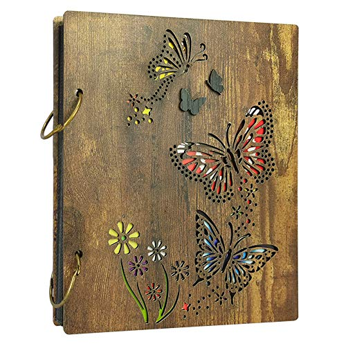 PETAFLOP 4x6 Photo Album Butterfly Photo Albums for 4 x 6 Pictures Fit 120 Photos, Dark Brown Wooden Cover