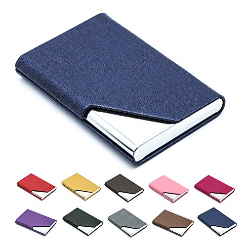 Business Name Card Holder Luxury PU Leather & Stainless Steel Multi Card Case,Business Name Card Holder Wallet Credit Card ID Case/Holder for Men & Women - Keep Your Business Cards Clean (Blue)