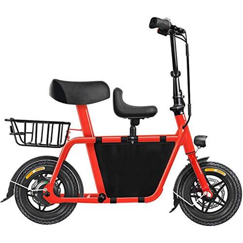 D&XQX Mini Eltern Kind Elektroauto Für Erwachsene, Variable Speed Kleines Bewegliches Faltbare Fahrrad, Licht-Auto-Shock Dual-Lithium-Batterie Im Freien Bike Adventure,Rot