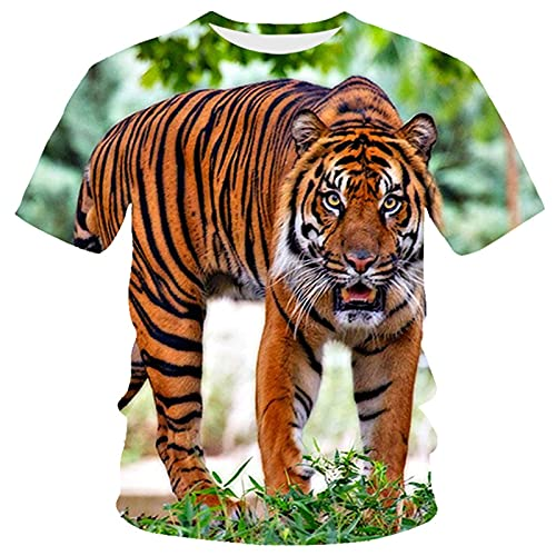 XDJSD Camiseta para Hombre Camiseta Corta Camiseta De Gran Tamaño Camiseta con Cuello Redondo Camiseta para Hombre Camiseta Holgada con Estampado De Tigre Camiseta De Manga Corta con Cuello Redondo