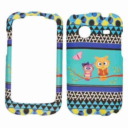 Cell Armor Snap-On Carrying Case for ZTE Whirl - Retail Packaging - Two Owls and Butterfly on Blue in The Middle