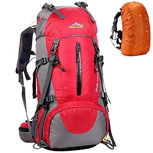 Hiking Backpack 50L Mountain Camping Trekking Daypack Gear with Rain Cover Red