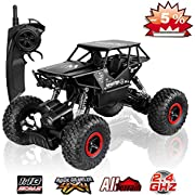 SZJJX RC Cars Off-Road Rock Crawler Truck Vehicle 2.4Ghz 4WD High Speed 1: 18 Radio Remote Control Cars Electric Fast Racing Buggy Hobby Car with Metal Shell (Black)
