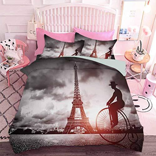 Hiiiman Home Textiles - Set di biancheria da letto da uomo su bicicletta retrò accanto alla Torre Eiffel Parigi Francia Dramatic Sky Sun (3 pezzi, California King Size)