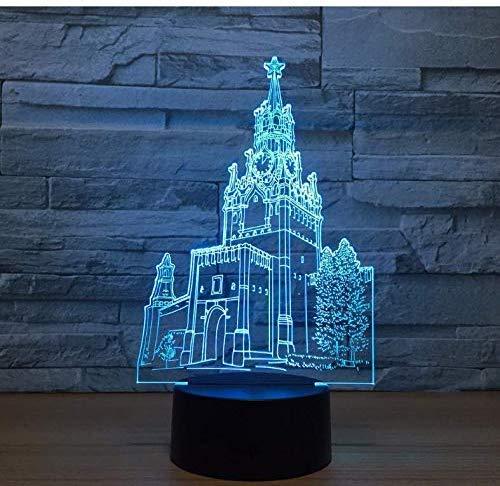 3D Nachtlampje De Klok Toren Bouwen Illusie Lamp 7 Kleur Visuele Led voor Kinderen Touch Controle USB
