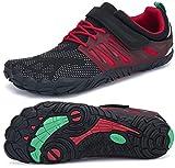 SAGUARO Transpirables Cinco Dedos Zapatillas de Deportes Masculina Femenino Bucle de Gancho Zapato Descalzos Ventilado Minimalista Zapatos de Baño Anfibio Cycling 2020, Trail Rojo 41