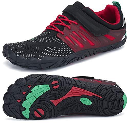 SAGUARO Dicke Sohle Wasserschuhe Schnell Trocknend Trekkingschuhe Verschleißfest Strandschuhe Sommer Minimalistische Laufschuhe Aquaschuhe Ultraleicht Flexibel Barefoot Shoes Indoor, Water Rot 43