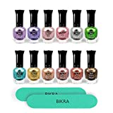 Kleancolor Polygel Metallic Nail Polish Set, New Metallic Colors (Bundle of 12) Durable, Streak Free, Chip Resistant and Fast Drying. Includes 2 Bikra Nail Files.