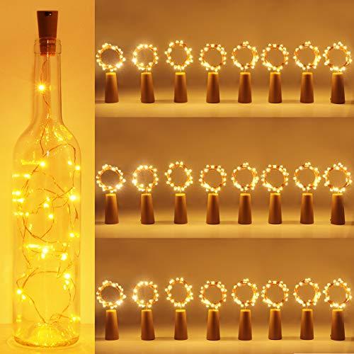 luz de Botella, Kolpop luz Corcho, luces led para Botellas de Vino 2m 20 LED a Pilas Decorativas Cobre Luz para Romántico Boda, Navidad, Fiesta, Hogar, Exterior, Jardín,Blanco Cálido (24 pack)