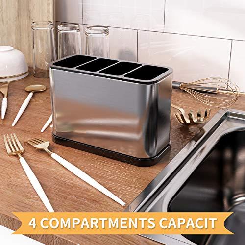 JASIWAY Kitchen Utensil Holder 304 Stainless Steel Sinkware Caddy Cooking Utensil Holder Organizer Storage Stand, Silver