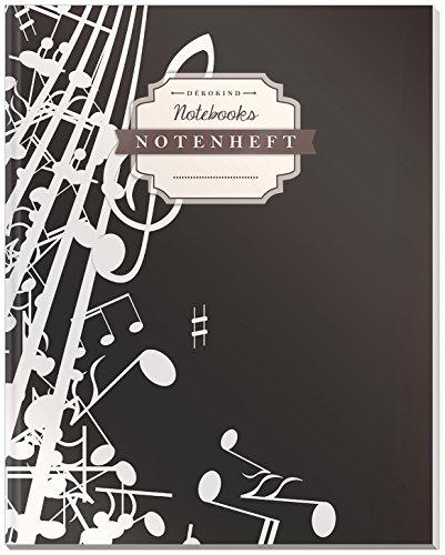 DÉKOKIND Notenheft | DIN A4, 64 Seiten, 12 Notensysteme pro Seite, Inhaltsverzeichnis, Vintage Softcover | Dickes Notenbuch | Motiv: Minimalistisch