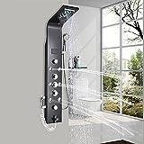 Onyzpily Columna de ducha LED ORB de acero inoxidable, con alcachofa de ducha, 8 boquillas de masaje