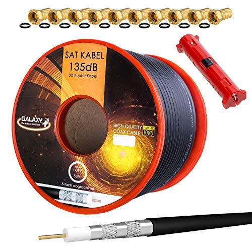 HB-DIGITAL Cable de antena coaxial satelital de cobre puro 135 Db Hb Digital Uhd 4 K con herramienta de extracción y conector F 10X (chapado en oro) 50m + Abisolierer Negro