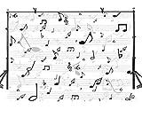 AdaCrazy 7X5ft Tema de música Fondo Blanco Simple Símbolos de música Música Arte Fotografía Telón de Fondo Estudio de Arte Fotografía Fondo Foto de Estudio Mural LYLX522