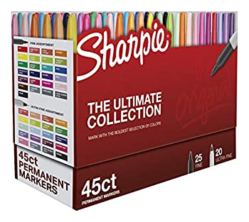 Sharpie Permanent Markers Ultimate Cosmic Color Collection Fine and Ultra Fine Points Assorted Colors 45 Count