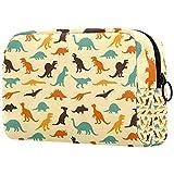 Bolsa de cosméticos con diseño de dinosaurio, estilo vintage, con cremallera para mujeres y niñas