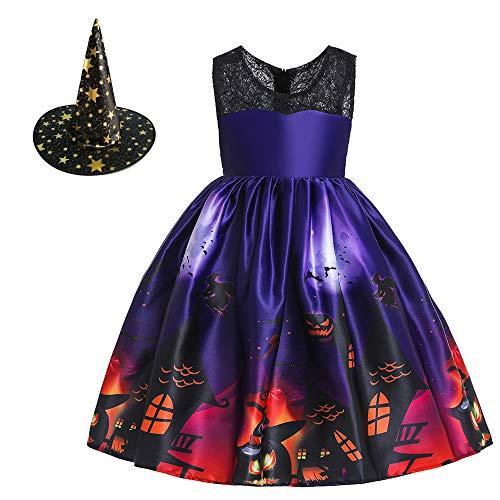 KOCEKID ハロウィン 仮装 衣装 子供 女の子 コスチューム ドレス プリント サテン プリンセスドレス 可愛い 魔女 キッズ コスプレ衣装 ワンピース 帽子付き 6カラー