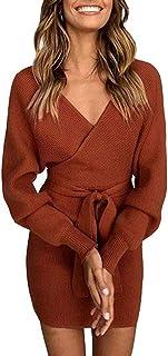f5426b997f0 Socluer Femme Mini Robe Pull Tricot Fourreau Elégant Robe de Chambre  Tricoté Col V Croisé Sexy