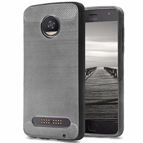 MYCASE] Silikon TPU Hülle für Motorola Moto Z2 Play | Grau | Matte Unifarben Design | Weich Leicht Bumper | Leicht Softcase | Handytasche Schutz Schutzhülle Tasche für Motorola Moto Z2 Play