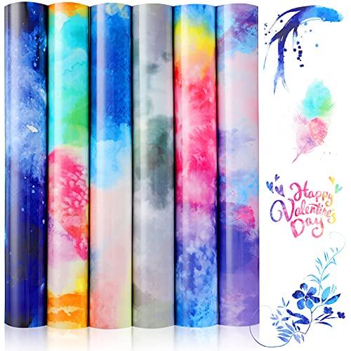 6 Hojas HTV de Arco Iris Paquete de Vinilo de Transferencia de Calor de Acuarela de 9,84 x 11,81 Pulgadas Vinilo Planchado de PU para Camiseta Tela, Nubes Reflectantes, Decoración de Vestido