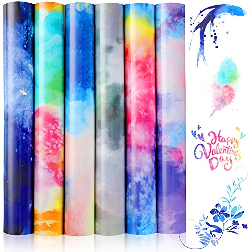 6 Sheets Rainbow HTV, 9.84 x 11.81 Inch Watercolor Heat Transfer Vinyl Bundle PU Iron on Vinyl for T-Shirt, Fabric, Reflective Clouds, Clothes Garment Decoration, DIY Design for T-Shirt
