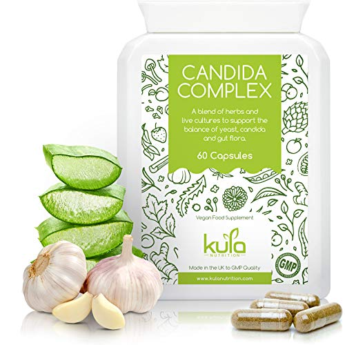 Candida Complex Herbal Supplement - 60 High Strength Capsules for Yeast and Friendly Bacteria Balance - Gut Health & Digestion Support - Non-GMO - Made in The UK by Kula Nutrition