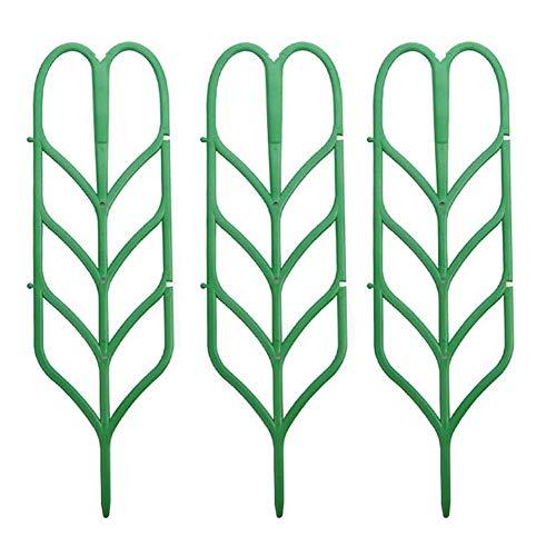 Climbing Plants Support Garden Trellis for Plant Climbing Plastic Gardens Plant Pot Trellis Leaf Shape Green 3pcs