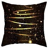 Iusun Merry Christmas Pillow Covers Short Plush 18 Inches Square Black Gold Print Waist Throw Pillowcase Fall Winter Autumn Season Decor Sofa Pad Home Decorative Cushion Covers (L)