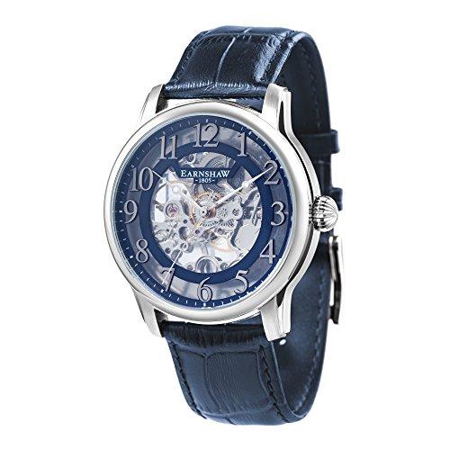 Thomas Earnshaw Longitude ES-8062-05 mechanisch herenhorloge, blauwe wijzerplaat met skeletweergave, blauwe lederen armband
