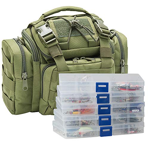 Dr.Fish Fishing Tackle Bag Loaded 5 Boxes 60 Fishing Lures Kit Crankbaits Spinners Roostertail Salmon Spoons Soft Plastic Shad Swimbiats Green