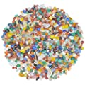Mixed Color Agate Gravel Chips Stone Crushed Crystal Quartz Pieces Irregular Shaped Tumbled Stones Raw Gems Beads Filler Colored Decorative Rocks for Vases Plants Crafts (About 1.1 lb(500g)/Bag)