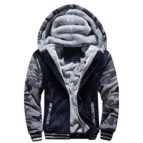 Toimothcn Mens Faux Fur Lined Coat Winter Warm Fleece Hood Zipper Sweatshirt Jacket Outwear (Blue1,XXL)