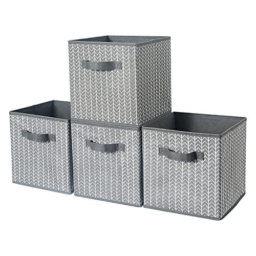 BrilliantJo Aufbewahrungsbox aus Stoff in 4er Set, 27 x 27 x 28 cm Faltbare Aufbewahrungskiste mit Griffe Ordnungssystem Korb für Schrank Regal Spind - Grau Fischgrät