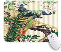 ZOMOY マウスパッド 個性的 おしゃれ 柔軟 かわいい ゴム製裏面 ゲーミングマウスパッド PC ノートパソコン オフィス用 デスクマット 滑り止め 耐久性が良い おもしろいパターン (アジアの孔雀のカラフルな羽水彩フォレストブランチアンティークインク中国)