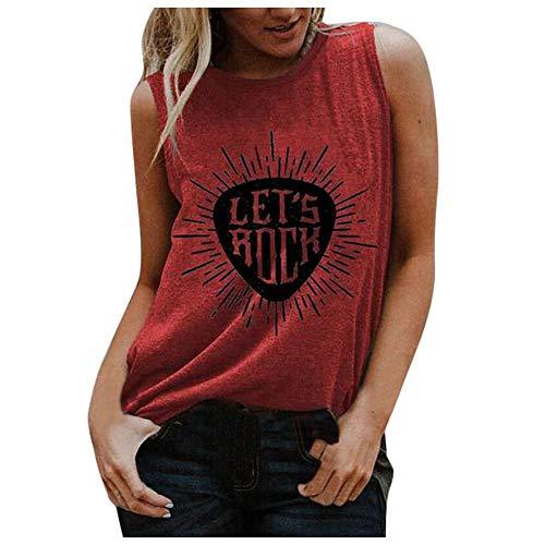 VJGOAL Camiseta sin Mangas Mujer Tank Top Deportivas Cuello Rredondo Camisetas de Tirantes Impresión de Cartas de Moda Casual de Verano Blusas de Chaleco sin Mangas Sueltas Vest