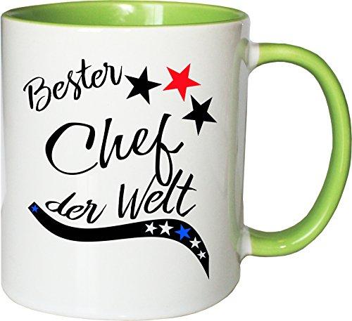 Mister Merchandise Becher Tasse Bester Chef der Welt. Kaffee Kaffeetasse liebevoll Bedruckt Beruf Job Arbeit Weiß-Grün