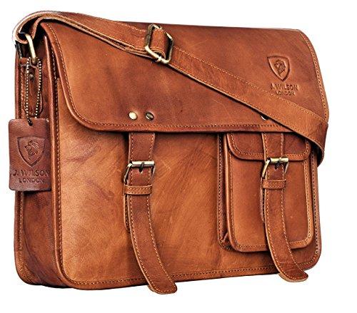 J. Wilson London Messenger Bag Mens Lederen Flapover 10 liter Distressed Donkerbruin