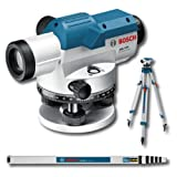 Bosch Professional GOL 32 D - Nivel óptico (alcance 120 m, aumento x32, medida en grados, regla graduada, trípode, en maletín)