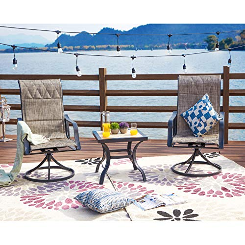 LOKATSE HOME 3 Piece Patio Rocking Set with 2 Outdoor Swivel Chairs and 21