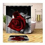 Anwaz Duschvorhang und Badezimmerteppich Set Waschbar aus Polyester Rose Muster...