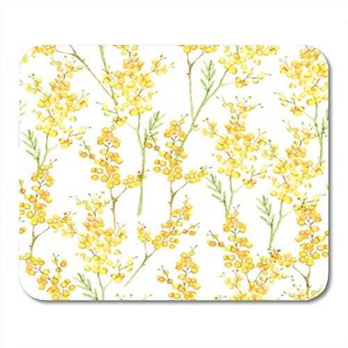 Semtomn Gaming Mouse Pad Aquarell Nahtloses Muster mit Frühling Tender Blumen Gelbe Mimose auf Dekor Büro rutschfeste Gummi Backing Mousepad Mouse Mat